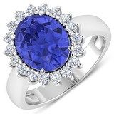 APP: 14.7k Gorgeous 14K White Gold 3.21CT Oval Cut Tanzanite and White Diamond Ring - Great Investme