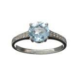 APP: 0.7k Fine Jewelry 1.50CT Round Cut Blue And Colorless Topaz Platinum Over Sterling Silver Ring