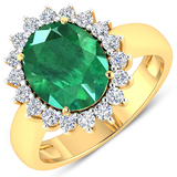 APP: 19.9k Gorgeous 14K Yellow Gold 2.81CT Oval Cut Zambian Emerald and White Diamond Ring - Great I