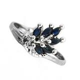 Fine Jewelry Designer Sebastian 0.30CT Blue Sapphire And Topaz  Platinum Over Sterling Silver Ring