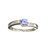 APP: 0.7k Fine Jewelry 0.40CT Tanzanite And Colorless Topaz Platinum Over Sterling Silver Ring