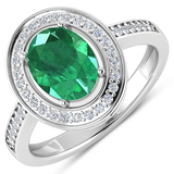 APP: 8.8k Gorgeous 14K White Gold 1.41CT Oval Cut Zambian Emerald and White Diamond Ring - Great Inv