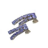 APP: 2.4k Fine Jewelry 3.60CT Oval Cut Tanzanite And Sterling Silver Dangle Earrings