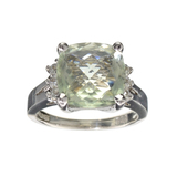 APP: 0.6k Fine Jewelry Designer Sebastian, 4.78CT Green Quartz And White Topaz Sterling Silver Ring