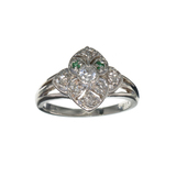 APP: 0.4k Fine Jewelry 0.31CT Round Cut Green Emerald And White Sapphire Sterling Silver Ring