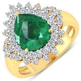 APP: 20k Gorgeous 14K Yellow Gold 2.51CT Pear Cut Zambian Emerald and White Diamond Ring - Great Inv