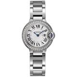 Cartier Women's Ballon Bleu Diamond Round Stainless Steel Case White Dial Sapphire Push/Pull Quartz