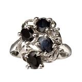 Fine Jewelry Designer Sebastian 1.80CT Blue Sapphire And Topaz  Platinum Over Sterling Silver Ring
