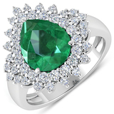 APP: 19.9k Gorgeous 14K White Gold 2.51CT Pear Cut Zambian Emerald and White Diamond Ring - Great In