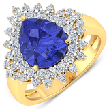 APP: 15.4k Gorgeous 14K Yellow Gold 2.71CT Pear Cut Tanzanite and White Diamond Ring - Great Investm
