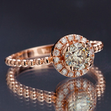 *Fine Jewelry 14KT.T Rose Gold, 0.91CT Round Brilliant Cut Diamond Ring (VGN A-201) (Vault V)