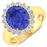 APP: 15.1k Gorgeous 14K Yellow Gold 3.21CT Oval Cut Tanzanite and White Diamond Ring - Great Investm
