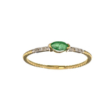 APP: 0.4k Fine Jewelry 14KT. Gold, 0.12CT Green Emerald And Diamond Ring