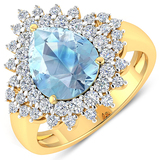 APP: 12.5k Gorgeous 14K Yellow Gold 2.11CT Pear Cut Aquamarine and White Diamond Ring - Great Invest