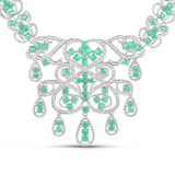 APP: 9.4k 18.55CT Round Cut Emerald and White Diamond Silver Necklace - Great Investment - Alluring
