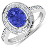 APP: 6.2k Gorgeous 14K White Gold 1.31CT Oval Cut Tanzanite and White Diamond Ring - Great Investmen