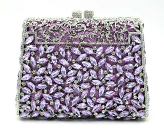 "*Rare Exquisite Swarovski Crystal Element Handbag by Christal Couture ""Diamond Friends - Lavender Fe"