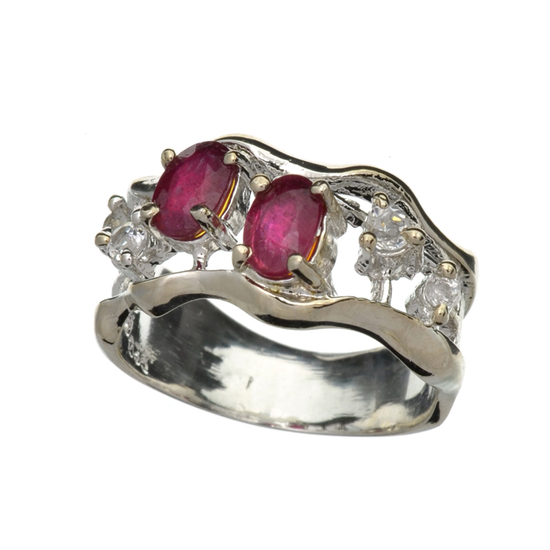 APP: 1.7k Fine Jewelry 1.00CT Oval Cut Ruby And Colorless Topaz Platinum Over Sterling Silver Ring