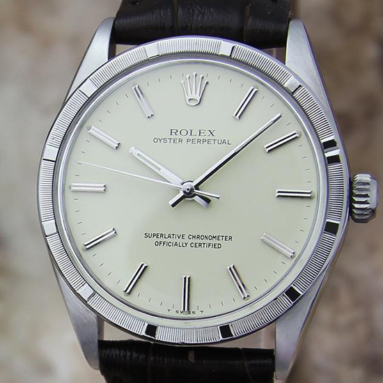 *Rolex Swiss Automatic Mens 1007 Oyster Perpetual 1963 Stainless Steel Watch -P-