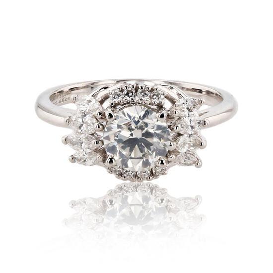 APP: 21.5k 1.00ct SI2 CLARITY CENTER Diamond Platinum Ring (1.43ctw Diamonds) GIA CERTIFIED (Vault_R