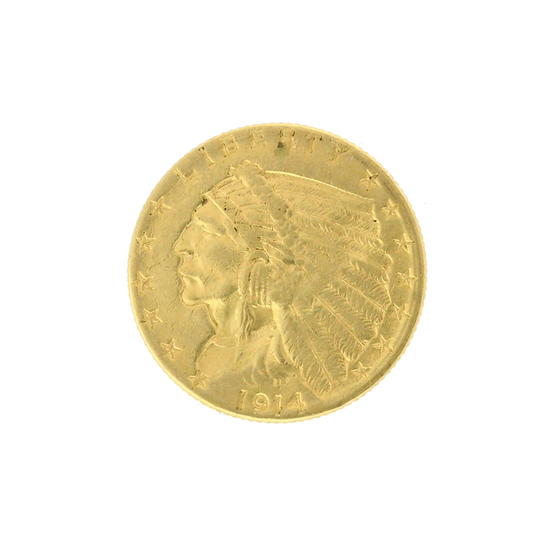 Rare 1914-D $2.50 Indian Head Gold Coin Great Investment