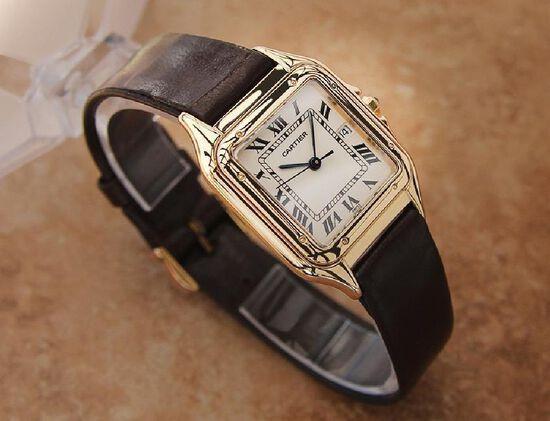*Cartier Panthere 18K Gold Luxury Unisex Dress Watch -P-