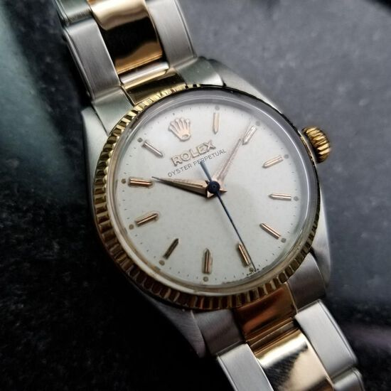 *Rolex Vintage 1952 Oyster Perpetual 14k Rose Gold SS Lady Watch -P-
