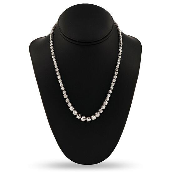 APP: 34.8k 14.36ctw Diamond 14K White Gold Tennis Necklace (Vault_R16_31502)