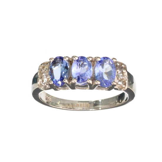 APP: 1.4k Fine Jewelry 1.40CT Oval Cut Tanzanite And White Sapphire Sterling Silver Ring