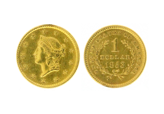 Rare 1853 $1.00 Liberty Head Gold Coin - Great Investment -