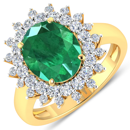 APP: 21k Gorgeous 14K Yellow Gold 2.81CT Oval Cut Zambian Emerald and White Diamond Ring - Great Inv
