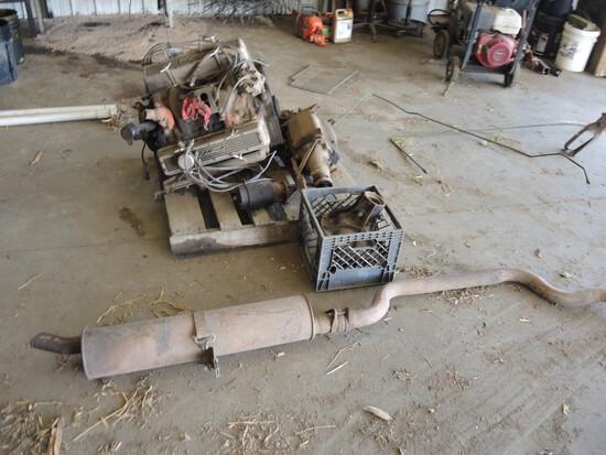 V8 327 Motor, Muffler, Starter, SOLD AS-IS