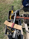 Welding rods, Extention cord & tote of Heavy duty come alongs