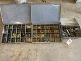 2 Bins of Wire Connectors & tool box full of sockets