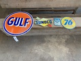 Sunoco, Gulf, 76, & Motor oil sign