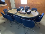 Large Professional Poker Table with chips & 10 Chairs