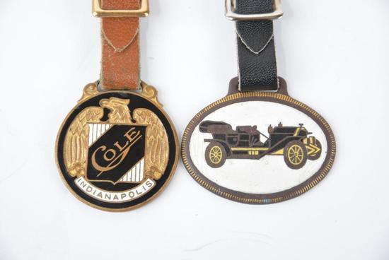 2- Cole Automobile Enamel Metal Watch Fobs