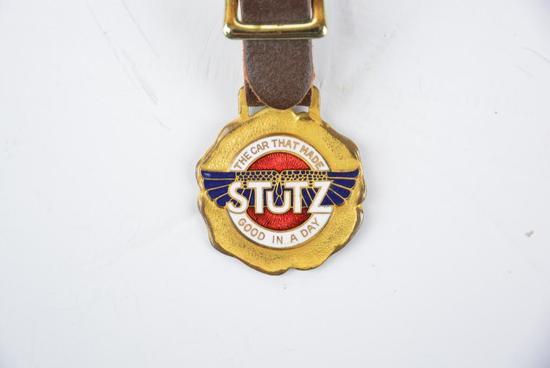 Stutz Automobile Enamel Metal Watch Fob