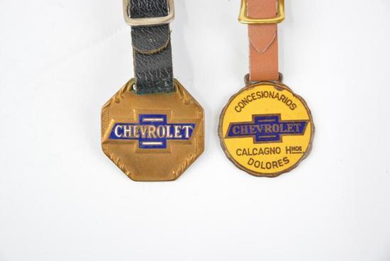 2- Chevrolet Automobile Enamel Metal Watch Fobs