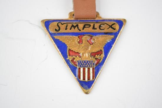 Simplex Automobile Enamel Metal Watch Fob