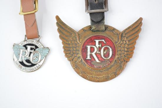 2- REO Automobile Enamel Metal Watch Fobs