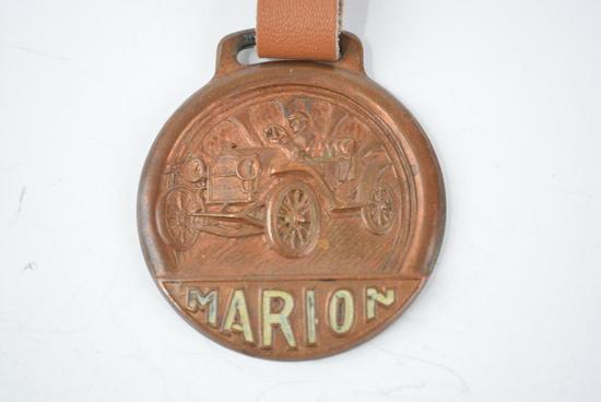 Marion Automobile Enamel Metal Watch Fob