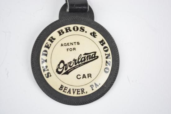 WIllys-Overland Automobile Celluloid and Rubber Watch Fob