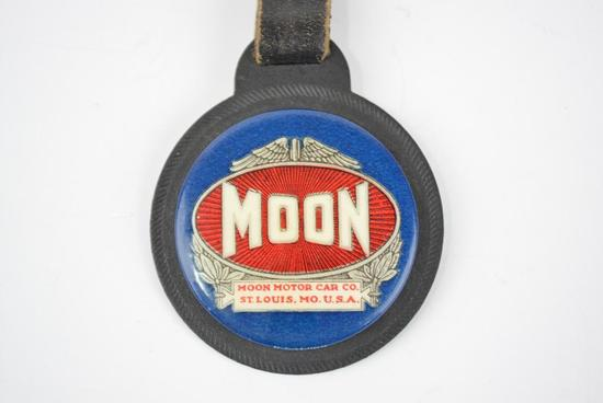 Moon Motor Car Company Celuliod and Rubber backing Watch Fob