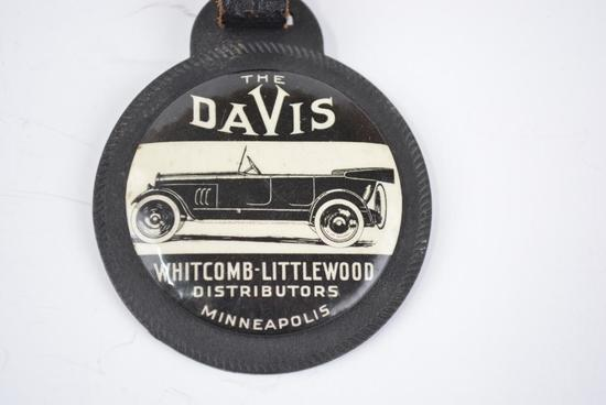 Davis Automobile Celluloid and Rubber Watch Fob