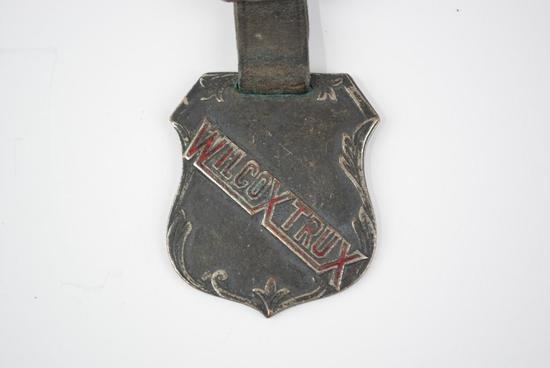 Wilcox Trux Automobile Enamel Metal Watch Fob