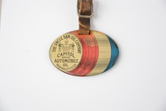 The Uncle Sam Oil Company Celluloid Watch Fob