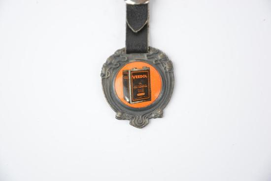 Veedol Motor OIl Celluloid & Metal watch fob