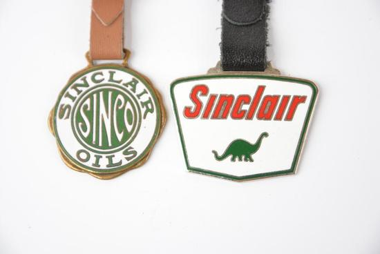 SInclair Sinco OIls & Sinclair w/Dino enamel watch fobs