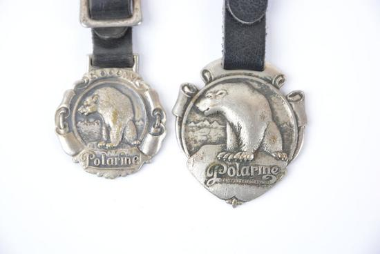 2-Standard Oil Polarine w/Bear logo metal watch fobs